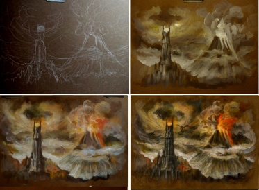 Barad-dur work in stages