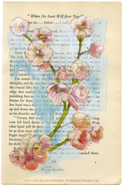 Blossomy book art, by Soni Alcorn-Hender
