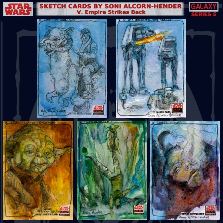 Topps Star Wars Galaxy sketch cards by Soni Alcorn-Hender