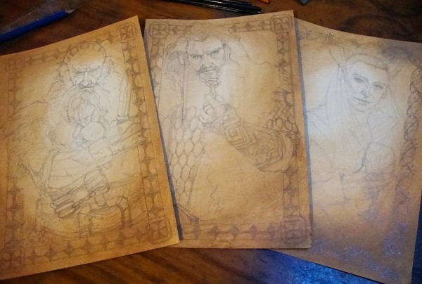 Balin, Thorin, Thranduil work in progress by Soni Alcorn Hender