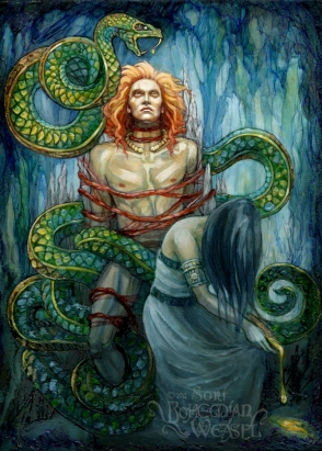 The Punishment of Loki, painted by Soni Alcorn-Hender
