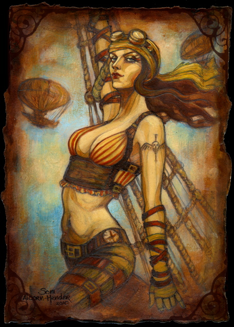 Steampunk Airship Pirate Captain by Soni Alcorn-Hender