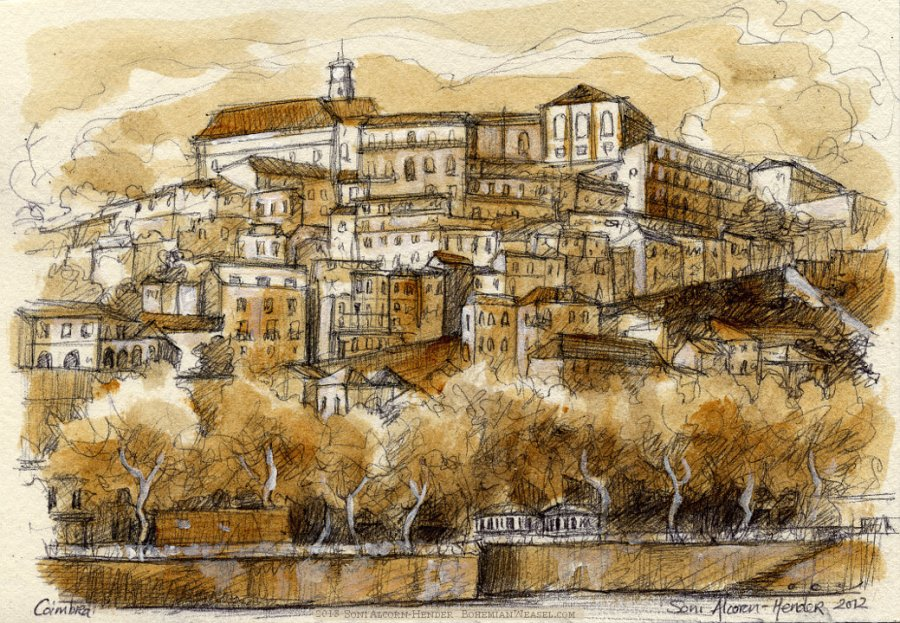 Coimbra sepia painting, Soni Alcorn-Hender