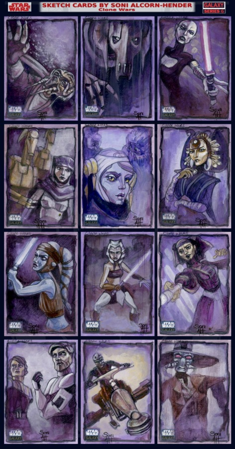 Topps Star Wars Galaxy 6 sketch cards Bettie Page by Soni Alcorn-Hender