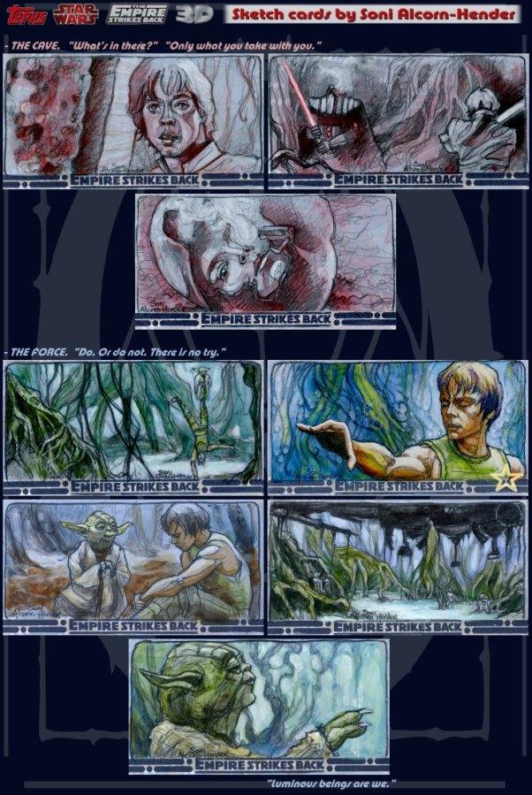 Topps Empire Strikes Back 3D sketch cards by Soni Alcorn-Hender