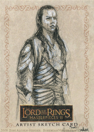 Second Age: Elrond, Topps Lord of the Rings LotR Masterpieces 2 sketch card by Soni Alcorn-Hender