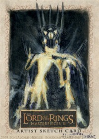 Sauron is defeated, Topps Lord of the Rings LotR Masterpieces 2 sketch card by Soni Alcorn-Hender