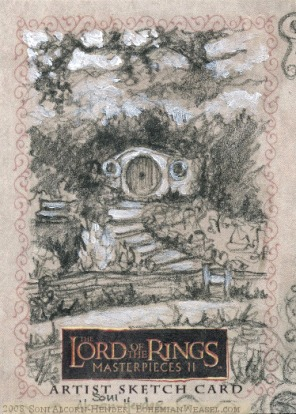 Bag-end Topps Lord of the Rings LotR Masterpieces 2 sketch card by Soni Alcorn-Hender