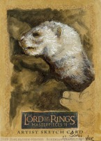 A WEASEL (ferret) in Bree Topps Lord of the Rings LotR Masterpieces 2 sketch card by Soni Alcorn-Hender