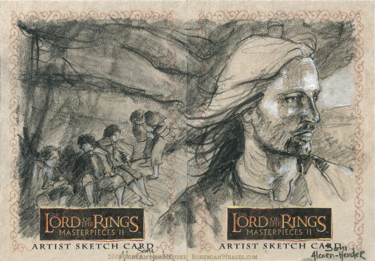 In Weathertop's shadow Topps Lord of the Rings LotR Masterpieces 2 sketch card by Soni Alcorn-Hender