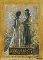 arwen and aragorn Topps Lord of the Rings LotR Masterpieces 2 sketch card by Soni Alcorn-Hender