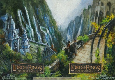 'The Ring will be safe in Rivendell' Topps Lord of the Rings LotR Masterpieces 2 sketch card by Soni Alcorn-Hender