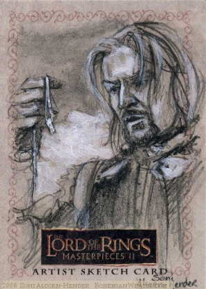 'It is a strange fate we should suffer so much fear and doubt…' Topps Lord of the Rings LotR Masterpieces 2 sketch card by Soni Alcorn-Hender