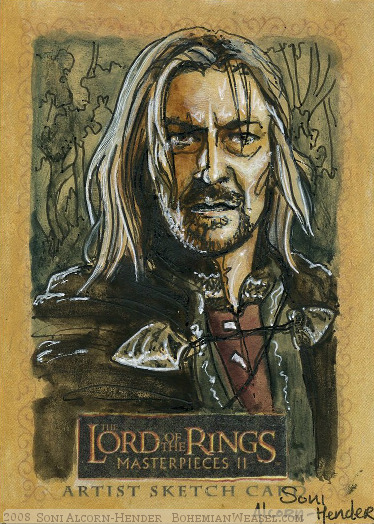 The water stirs.. Topps Lord of the Rings LotR Masterpieces 2 sketch card by Soni Alcorn-Hender
