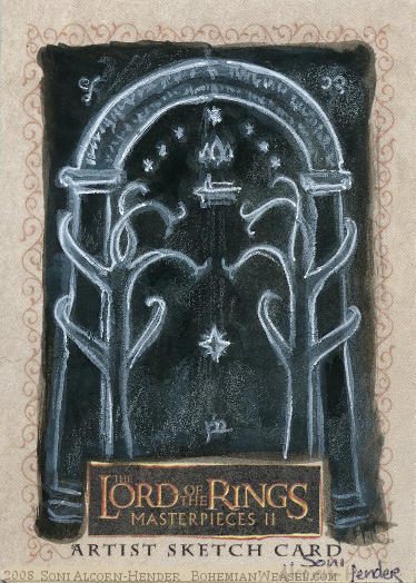 The Gates of Moria Topps Lord of the Rings LotR Masterpieces 2 sketch card by Soni Alcorn-Hender