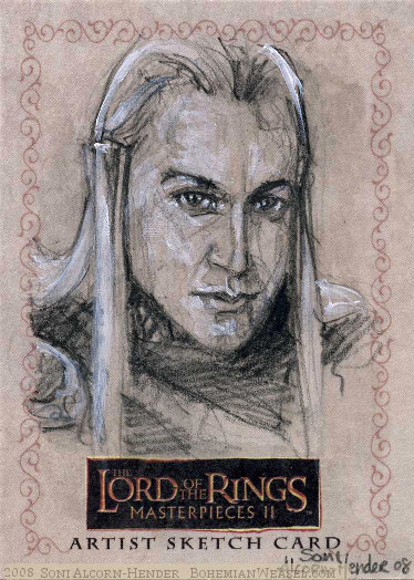 (Our Fellowship stands in your debt, Haldir of Lórien.), Topps Lord of the Rings LotR Masterpieces 2 sketch card by Soni Alcorn-Hender