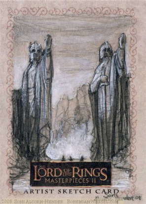 The Argonath, Topps Lord of the Rings LotR Masterpieces 2 sketch card by Soni Alcorn-Hender