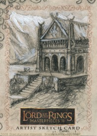 Meduseld Topps Lord of the Rings LotR Masterpieces 2 sketch card by Soni Alcorn-Hender