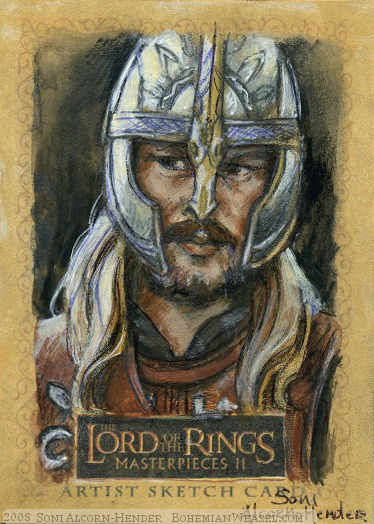 'Everywhere his spies slip past our nets..' Topps Lord of the Rings LotR Masterpieces 2 sketch card by Soni Alcorn-Hender