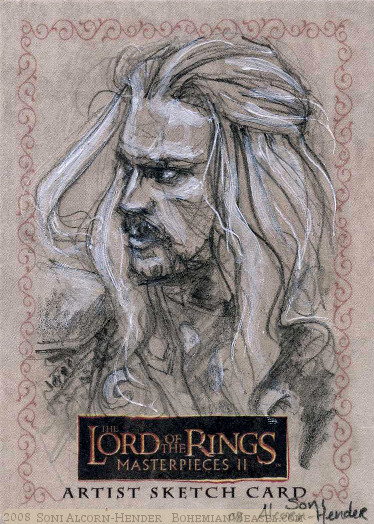 '..Hope has abandoned these lands.', Topps Lord of the Rings LotR Masterpieces 2 sketch card by Soni Alcorn-Hender