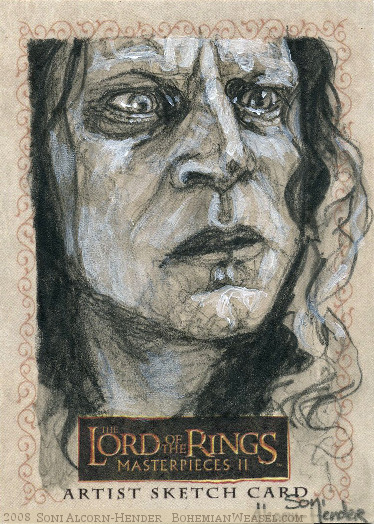 'Why do you lay these troubles on an already troubled mind..' Topps Lord of the Rings LotR Masterpieces 2 sketch card by Soni Alcorn-Hender