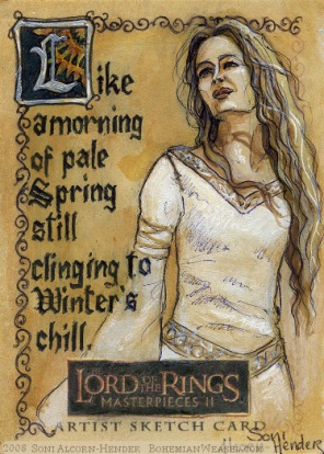 The White Lady of Rohan Topps Lord of the Rings LotR Masterpieces 2 sketch card by Soni Alcorn-Hender