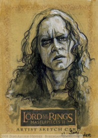 'Late is the hour in which this conjuror chooses to return!' Topps Lord of the Rings LotR Masterpieces 2 sketch card by Soni Alcorn-Hender
