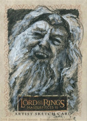The sickness of Théoden Topps Lord of the Rings LotR Masterpieces 2 sketch card by Soni Alcorn-Hender