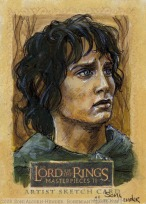 'I'm sorry, Sam. I don't know why I said that..' Topps Lord of the Rings LotR Masterpieces 2 sketch card by Soni Alcorn-Hender