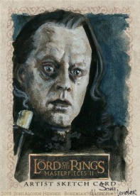 'There will be no dawn for Men.' Topps Lord of the Rings LotR Masterpieces 2 sketch card by Soni Alcorn-Hender