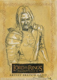 'Gondor's finest' Topps Lord of the Rings LotR Masterpieces 2 sketch card by Soni Alcorn-Hender