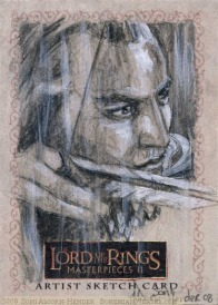 ('Fire the arrows!) Topps Lord of the Rings LotR Masterpieces 2 sketch card by Soni Alcorn-Hender