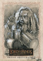 The drinking game Topps Lord of the Rings LotR Masterpieces 2 sketch card by Soni Alcorn-Hender