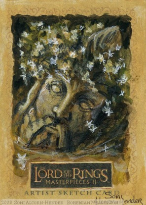 The fallen statue head, wreathed in tiny flowers Topps Lord of the Rings LotR Masterpieces 2 sketch card by Soni Alcorn-Hender