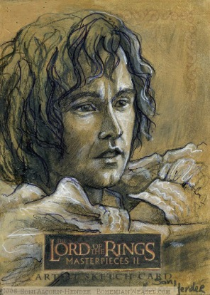 Pippin looks out to Mordor Topps Lord of the Rings LotR Masterpieces 2 sketch card by Soni Alcorn-Hender