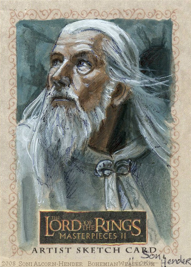 'Gandalf! Denethor has lost his mind!' Topps Lord of the Rings LotR Masterpieces 2 sketch card by Soni Alcorn-Hender