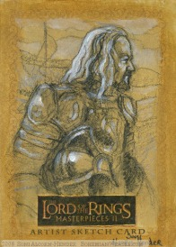 The mustering of Rohan Topps Lord of the Rings LotR Masterpieces 2 sketch card by Soni Alcorn-Hender