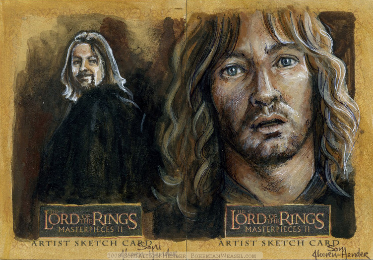 Denethor laments the loss of his first son, and the failings of the second. Topps Lord of the Rings LotR Masterpieces 2 sketch card by Soni Alcorn-Hender