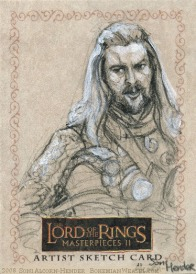 'The horses grow nervous in the shadow of the mountain' Topps Lord of the Rings LotR Masterpieces 2 sketch card by Soni Alcorn-Hender