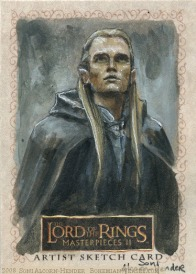 'The way is shut. It was made by those who were dead, and the dead keep it... Topps Lord of the Rings LotR Masterpieces 2 sketch card by Soni Alcorn-Hender
