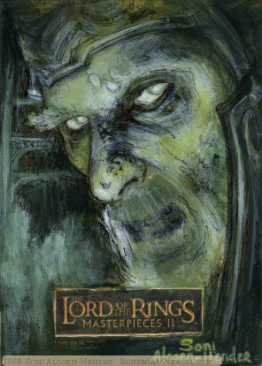 (Aragorn): 'Fight for me and I will hold your oaths fulfilled! What say you?!' Topps Lord of the Rings LotR Masterpieces 2 sketch card by Soni Alcorn-Hender