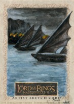 The ships of Umbar Topps Lord of the Rings LotR Masterpieces 2 sketch card by Soni Alcorn-Hender