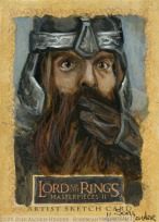 'Mind your aim, Legolas' Topps Lord of the Rings LotR Masterpieces 2 sketch card by Soni Alcorn-Hender