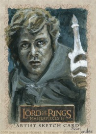 Sam bearing Galadriel's phial Topps Lord of the Rings LotR Masterpieces 2 sketch card by Soni Alcorn-Hender