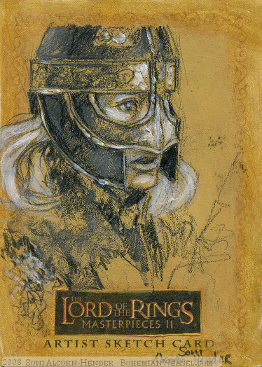 'Courage for our friends.' Topps Lord of the Rings LotR Masterpieces 2 sketch card by Soni Alcorn-Hender