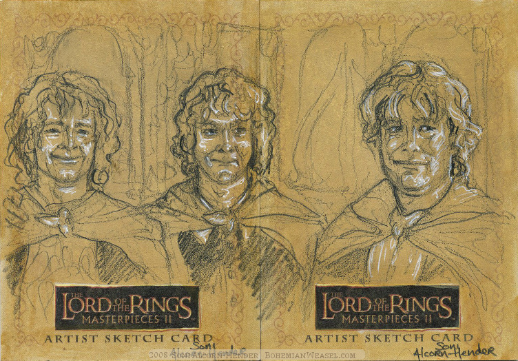 """'I will not say """"do not weep"""".. Topps Lord of the Rings LotR Masterpieces 2 sketch card by Soni Alcorn-Hender"""