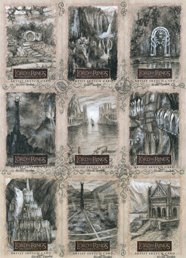 Topps Lord of the Rings 'Masterpieces 2' sketch cards by Soni Alcorn-Hender