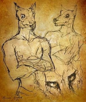 Werewolf concept sketch by Soni Alcorn-Hender