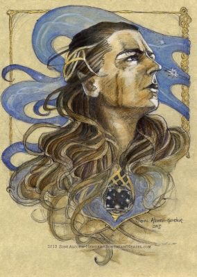 Gil-Galad, finished in ink, oils, and liquid gold on vellum paper. Soni Alcorn-Hender