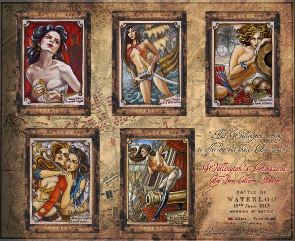 'Bombshells' Napoleonic Wars inspired sketch cards by Soni Alcorn-Hender